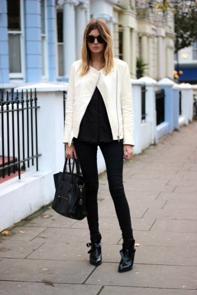 white jacket all black outfit