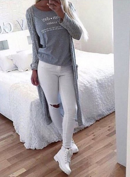 white jeans gray long cardigan