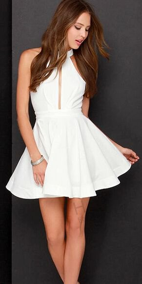 white keyhole sleeveless fit with high neckline and flared mini dress