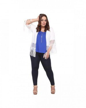 white knitted fringe shrug of the shoulders royal blue top