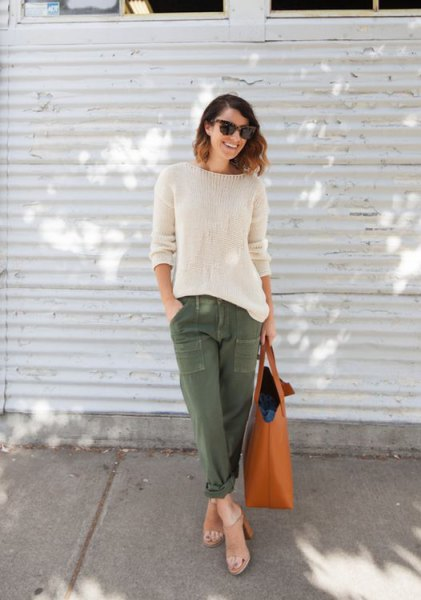white knitted sweater army pants bare heels