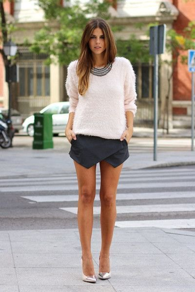 white knitted sweater black skort