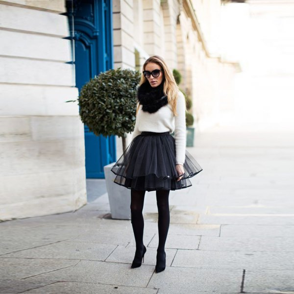 white knitted sweater black tulle mini skirt
