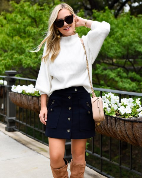 white knitted sweater button button navy mini skirt