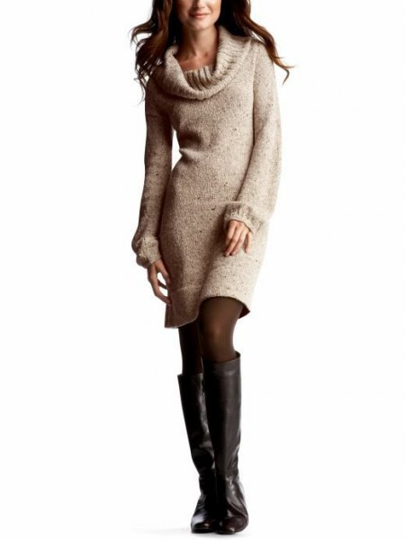 white knit sweater dress leather knee high boots