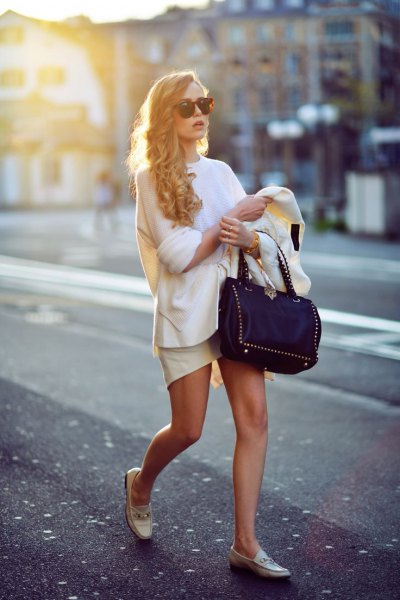 white knitted sweater leather mini skirt