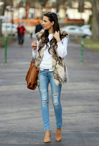 white knitted sweater with brown-black printed faux fur vest