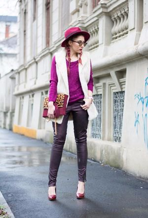 white knitted vest and black leather gaiters