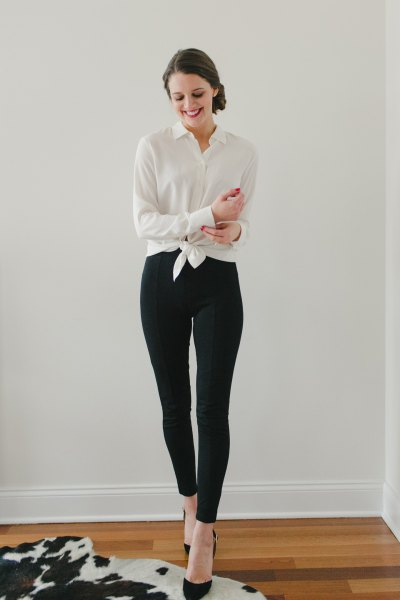 white knotted shirt with buttons