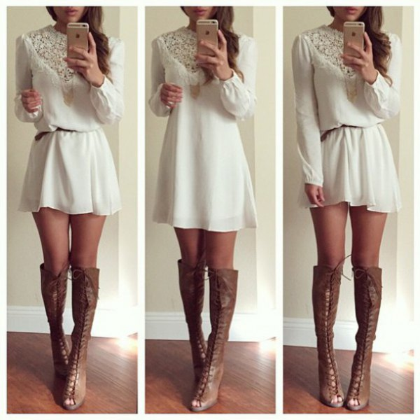 white mini shift dress with lace belt and gray leather boots with open toes