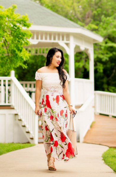 white lace blouse with red maxi skirt and bare sandals