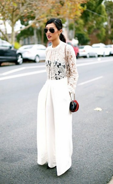 white lace blouse with wide-leg pants