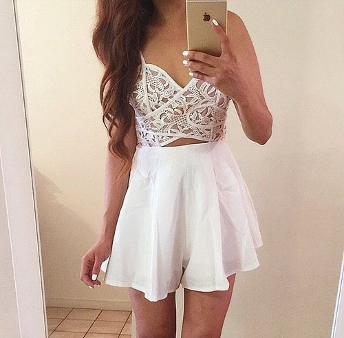 white lace bralette mini skirt with high waist