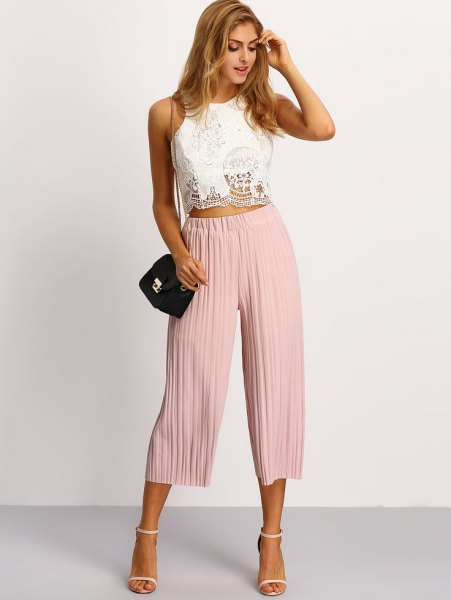 white lace top light pink pleaded culottes