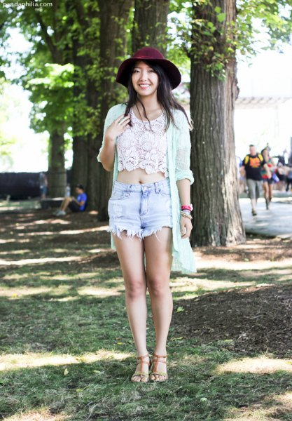 white lace top with long cardigan and black felt hat