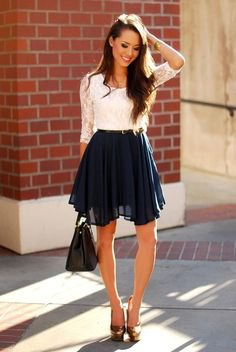 white lace top with half sleeves and chiffon minirater skirt
