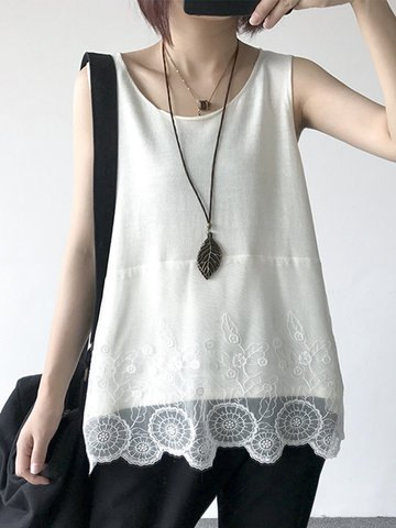 white tank top with lace hem and black jeans