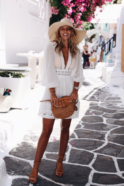 white lace semi-transparent mini flare cover up dress