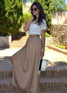 white lace short-sleeved top with green long skirt