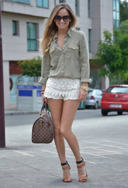 white lace shorts gray shirt with buttons