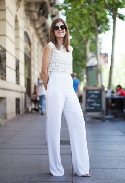 sleeveless white lace top with palazzo trousers