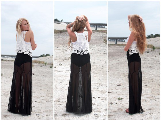 white lace top black maxi skirt