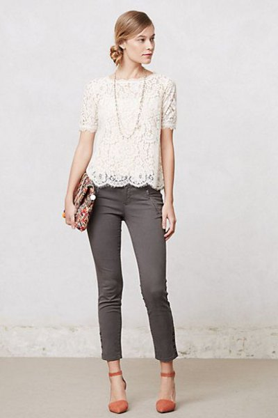 white lace top gray skinny jeans