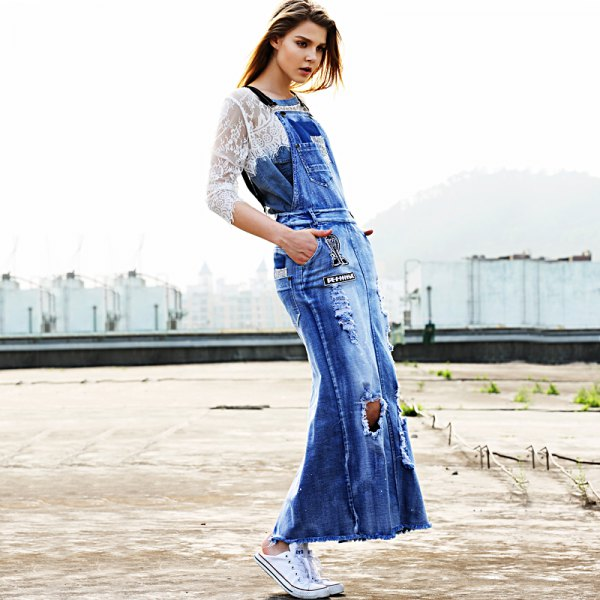 white lace top maxi denim overall dress