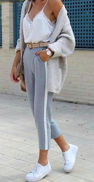 white lace top with gray, short-cut jogger pants
