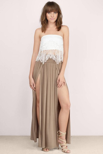 white lace tube top with crepe maxi dress with double slit