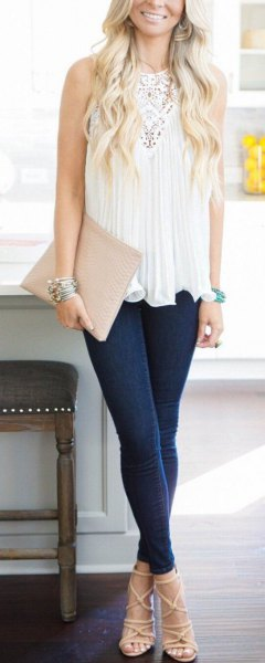 white lace tunic top dark blue skinny jeans