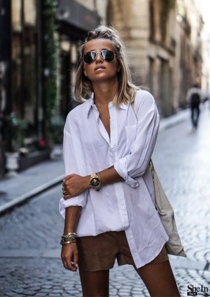 white big shirt with buttons and small gray, flowing, elegant shorts