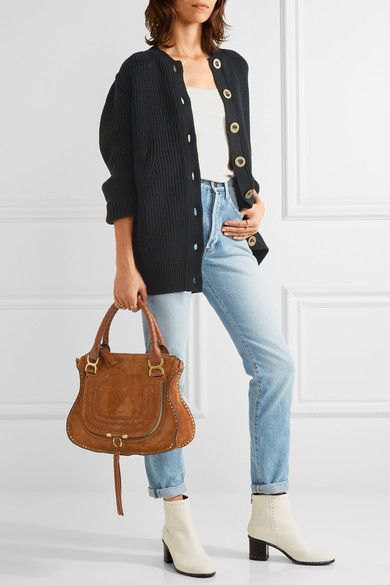 white leather ankle boots navy cardigan mom jeans