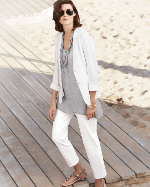 White linen blazer with a gray tunic top made of cotton with a relaxed fit