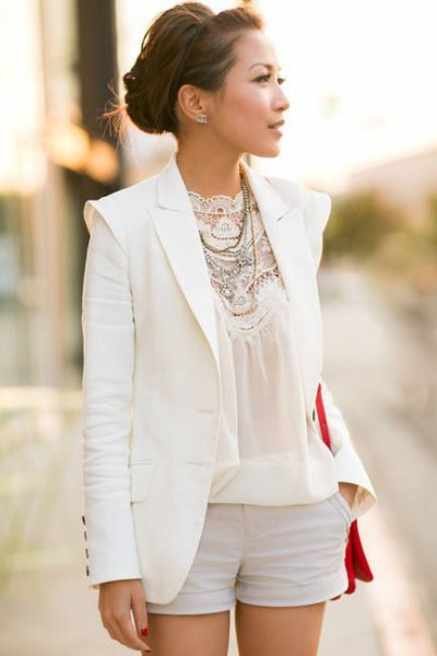 white linen blazer with lace and chiffon blouse