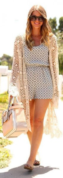 white romper outfit with long crochet jacket