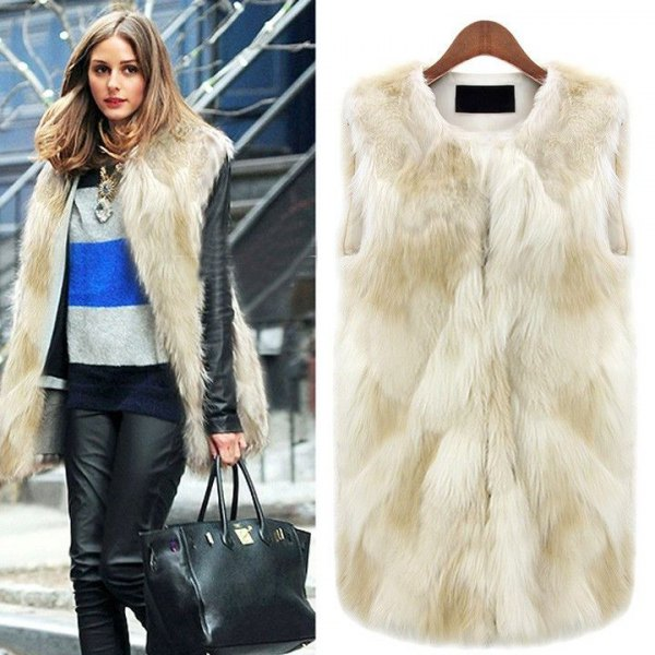 white long fur vest with blue and gray block sweater