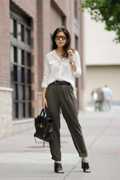 white long-sleeved blouse with gray chinos with straight legs and cuffs