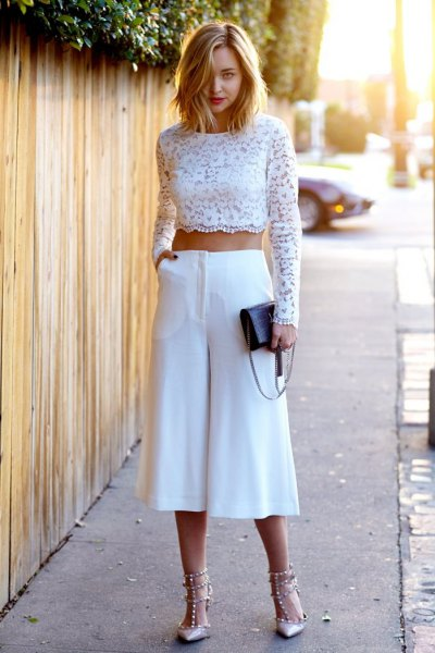 white long sleeved crochet top with wide leg and wide leg