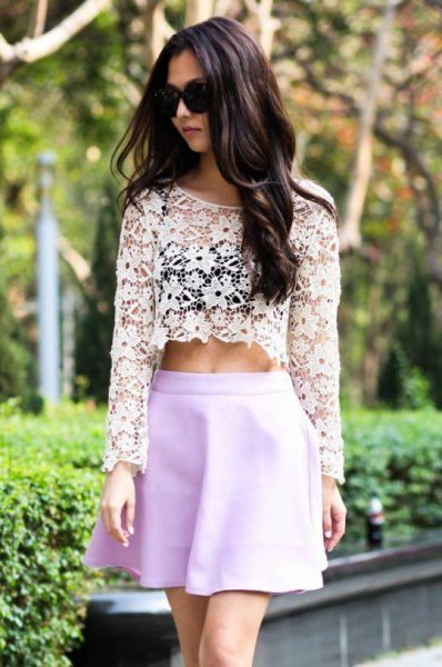 white long-sleeved crop top with sky blue minirater skirt