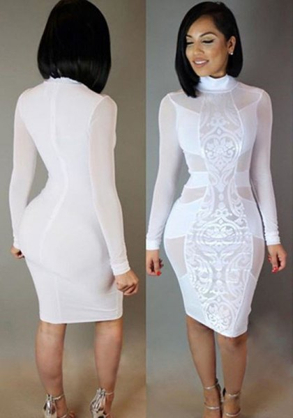 white long-sleeved midi dress with a lace neckline made of lace