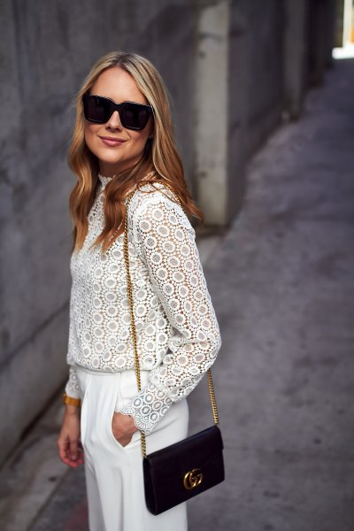 white long-sleeved trousers with pointed legs and wide legs