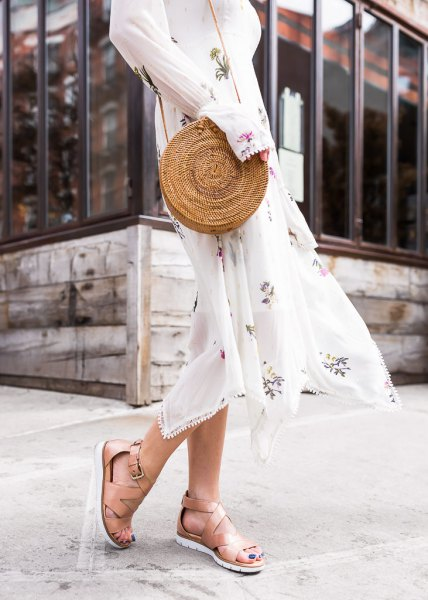 white, long-sleeved midi chiffon fit and flare dress with naked hiking sandals