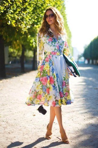 white long-sleeved midi skater dress with floral pattern