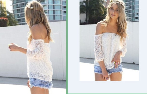 white long-sleeved shirt made of off-the-shoulder lace with light blue mini denim shorts