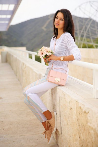 white, semi-transparent long-sleeved sweater with rose gold shoulder bag