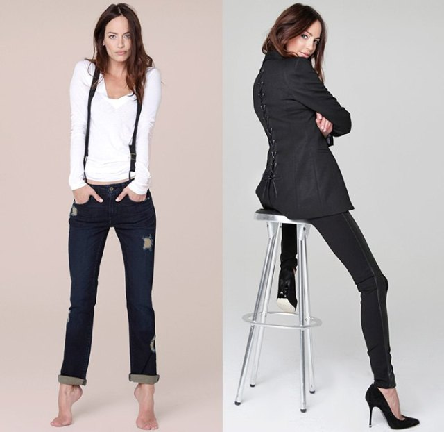 white long-sleeved T-shirt with black, narrow-cut jeans with cuffs