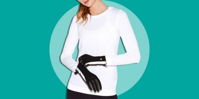 white long-sleeved T-shirt with black running gloves and dark jogging tights