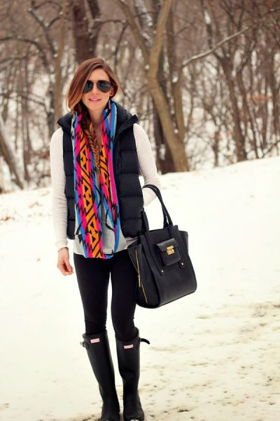 white long-sleeved t-shirt with a rainbow-colored scarf
