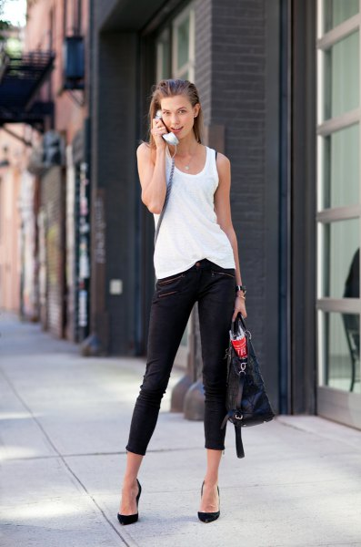 white long tank top with black skinny jeans and ballerinas
